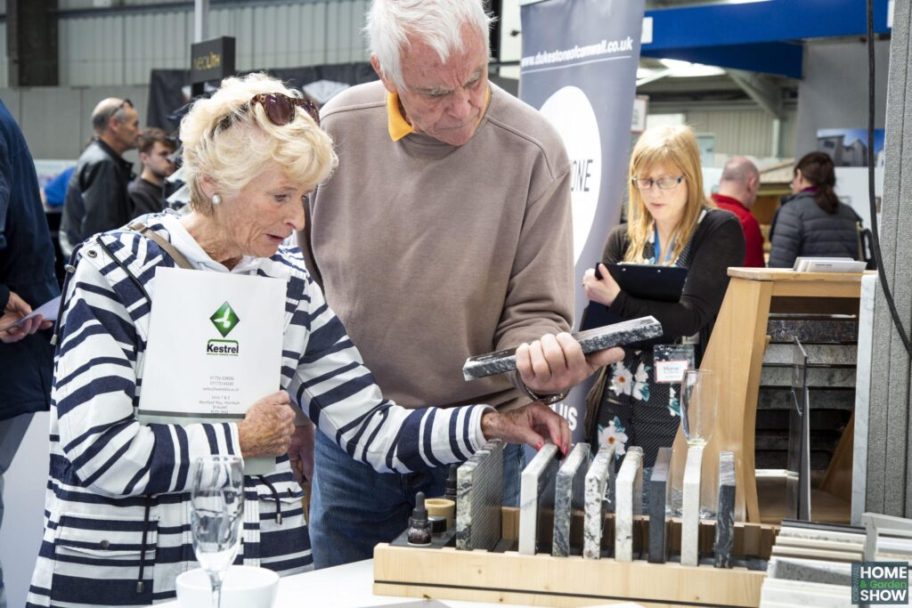 kitchen worktop samples at the Cornwall Home & Garden Show