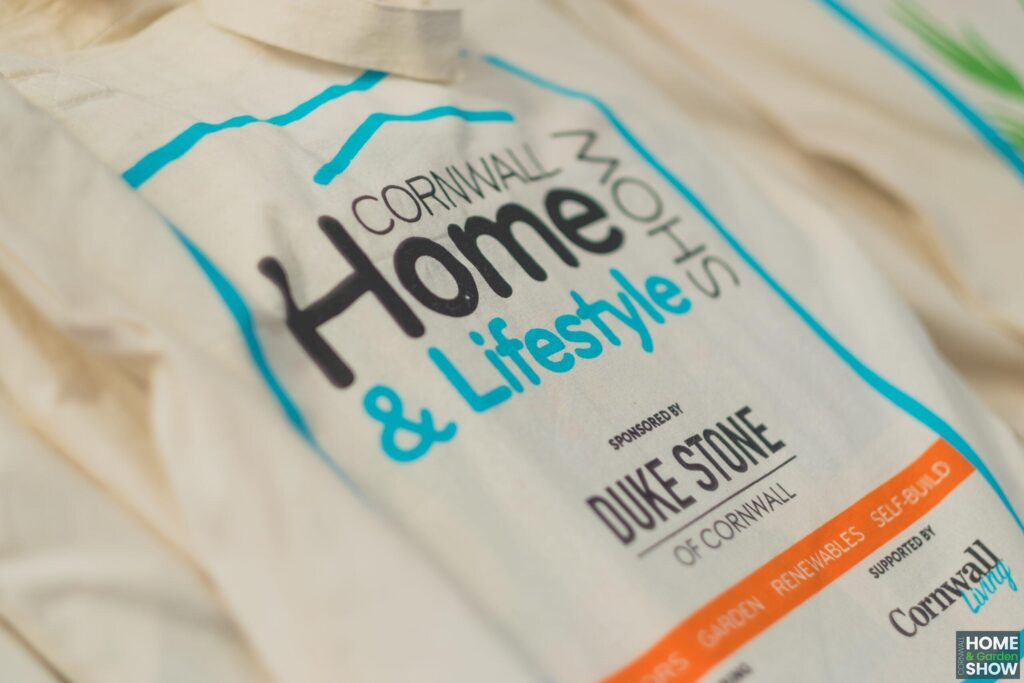 Cornwall home and lifestyle show logo sustainable cotton bag, marketing promotion at Cornwall Home & Garden Show